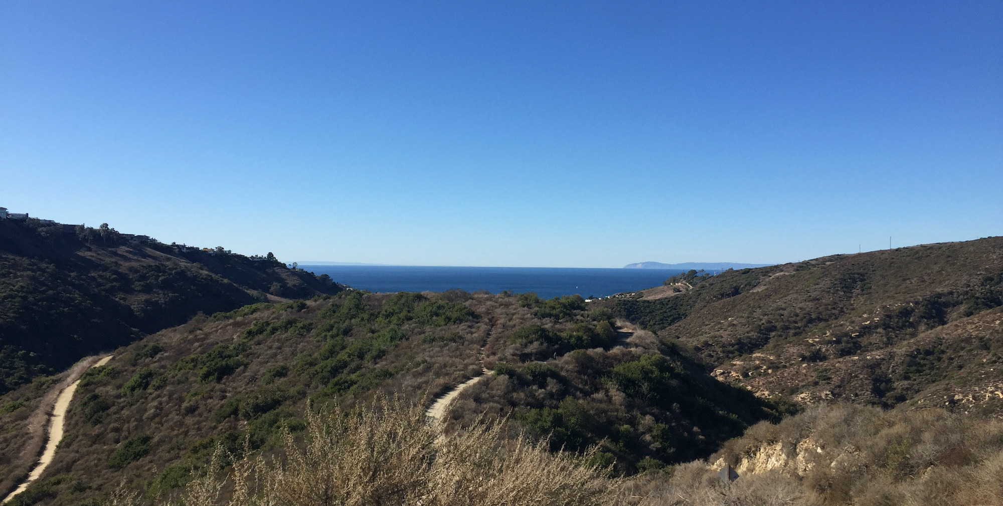 Perspective of the Pacific Ocean as we started hiking up
